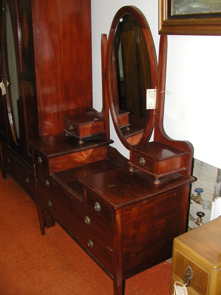 #67 PIC #3 MAHOGANY EDWARDIAN INLAID ARMOIR $550(MIRRORED VANITY $600 &  DRESSER $425) SET $1475 . - Brandy's Antique Furniture